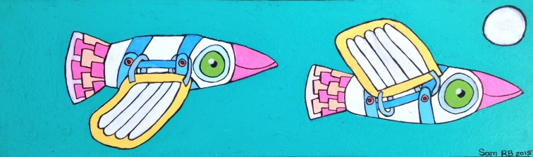 Queer Blue Footed Boobies. 2015. Acrylic on wood. 400m x 120mm - $150 - SOLD