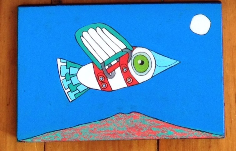 21. Solo flight Over Rangitoto (i), 2015. Acrylic on wood, 250mm x 160mm. $150 - SOLD