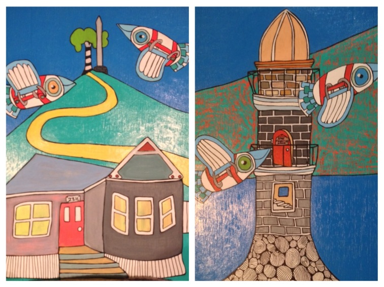 7. Rangitoto Lighthouse (iii) (front), 23H Maungkiekie (back). Acrylic on wood, 2015. 330m x 235mm - $230 - SOLD
