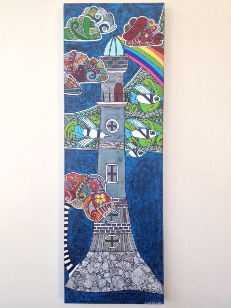 26. Rangitoto Lighthouse (i), 2015. Acrylic on canvas, 910mm x 305mm. $550 - SOLD
