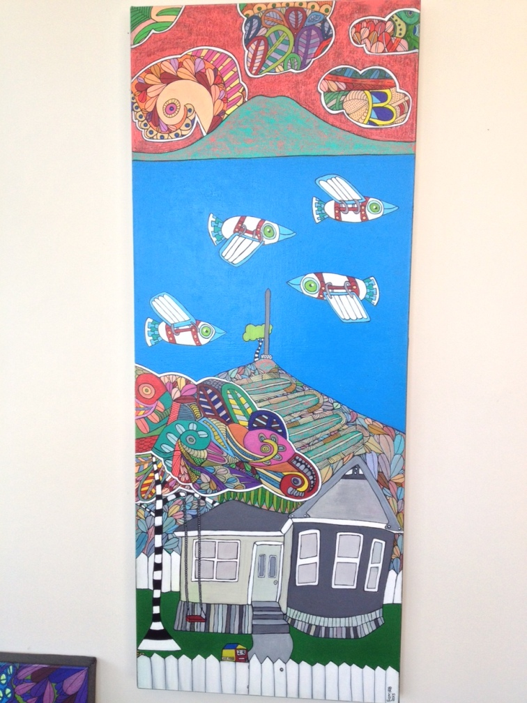27. 23B Maungakiekie, 2015. Acrylic on canvas, 1010mm x 400mm. $550